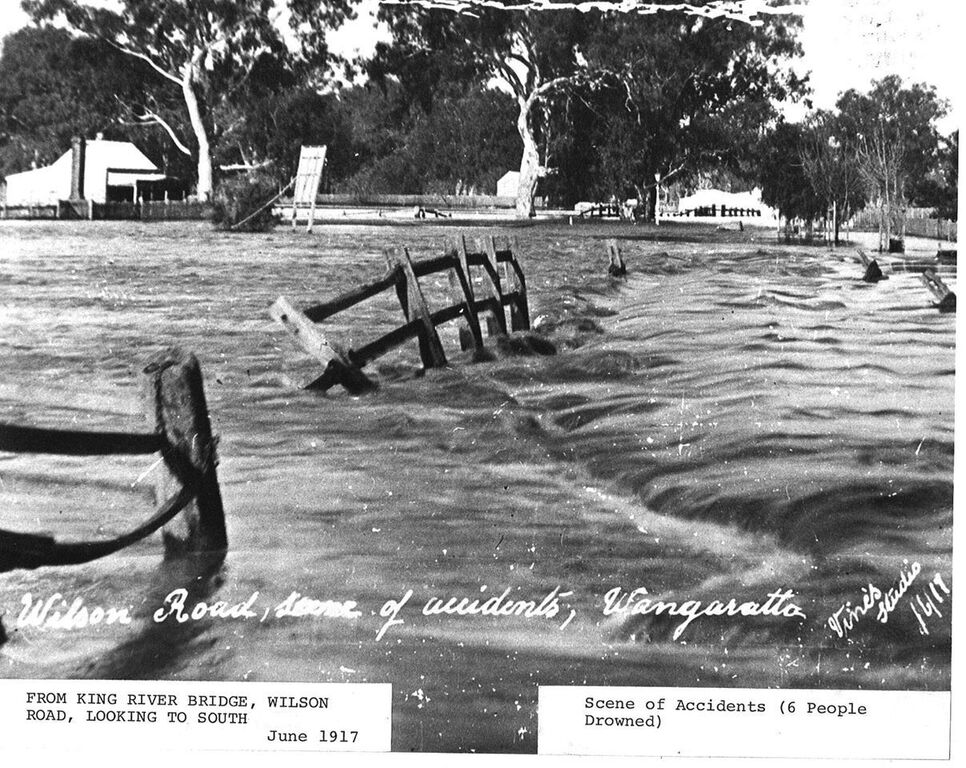 The scene of 6 drowning deaths during the 1917 Wangaratta floods